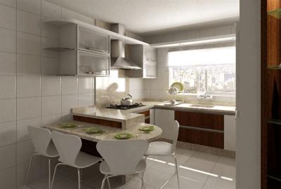 Cozinha com mesa pequena