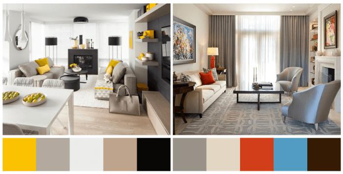 Sala de estar e sala de jantar decoradas com paleta de cores